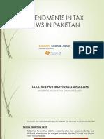 Amendments in Tax Laws in Pakistan