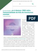 Diferença Não é Doença_ OMS Retira Transexualidade Da Lista de Transtornos Mentais – CRP-PR