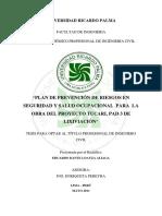 PLAN de PREVENCIÓN de RIESGOS en Proyeos Tucari Pad 3 de Lixviacion