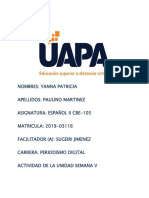 Actividad de La Unidad Semana v - Español II Yanna Paulino