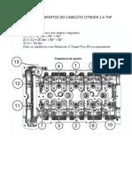 Sequencia de Apertos Do Cabeçote Citroen 1.6 Thp