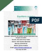 Actividad Foro Unidad 2 Análisis de Los Equilibrios Químicos