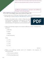 NTA UGC NET Sociology Paper 3 Solved June 2013