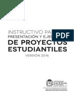 Pgp 2016 Instructivo Presentacion y Ejecucion de Proyectos Estudiantiles