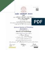 Degree Certificate Mtech