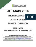 Jee Main 2016 Online CBT Solution Chemistry 10-04-2016