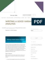 Writing a Good Variance Analysis