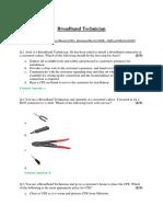 Broadband Technician- Sample QB