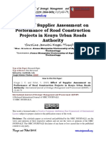 Effect of Supplier Assessment on Performance of Road Construction Projects in Kenya Urban Roads Authority