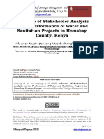 Influence of Stakeholder Analysis on the Performance of Water and Sanitation Projects in Homabay County Kenya