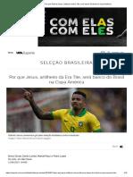 Seleção_ Por Que Gabriel Jesus, Artilheiro Da Era Tite, Será Banco Do Brasil Na Copa América