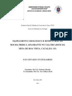 Mapeamento Geológico e Estrutural Da Rocha Fresca Aflorante No Talude Leste Da Mina de Boa Vista, Catalão, GO