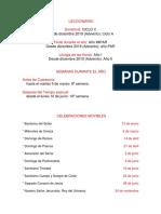 Normas Litúrgicas Calendario 2019