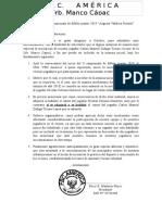 Carta a Organizadores de Campeonato Jorge Chavez 2019