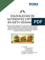 Equivalecias de Nutrientes Críticos en Dieta Vegana