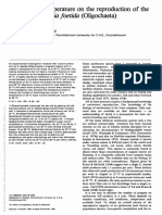 Influence of Temperature on the Reproduction of The Earthworm Eisenia Foetida (Oligochaeta)