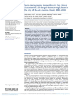Sociodemographic Inequalities in the Clinical Characteristics of Dengue Haemorrhagic Fever in the City of Rio de Janeiro Brazil 20072008
