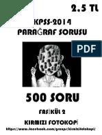 500 PARAĞRAF Sorusu