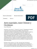 Artes Marciales, Entre Oriente y Occidente – Oasis en La Hecatombe