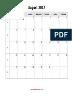 August 2017 Calendar Holidays Blank Landscape