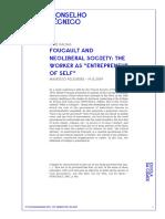 Mauricio Pelegrini Foucault and Neoliberal Society the Worker as Entrepreneur of Self