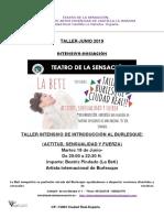 Teatro de La Sensacion Taller Intensivo de Burlesque-Iniciación-junio 2019