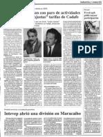 Edgard Romero Nava - Empresas Amenazan Con Paro de Actividades en Protesta Por Injustas Tarifas de Cadafe - Diario Reporte 09.02.1990