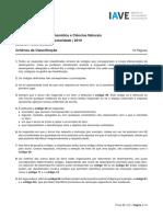 Prova de Aferição de Matemática e Ciências Naturais  5 Ano 2019 - Critérios de Classificação