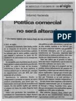 Informo Hacienda Politica Comercial No Sera Alterada - El Siglo 17.01.1990