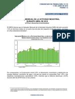 Indicador mensual de la actividad industrial - Abril de 2019