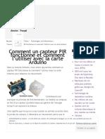 Comment Un Capteur PIR Fonctionne Et Comment l'Utiliser Avec La Carte Arduino