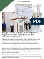 "04-05-2019 Entrega Astudillo el Premio Estatal al Mérito en Arquitectura ""Pedro Pellandini Cusi"" 2019."