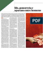 """""""Casos de Sífilis, Gonorreia e Clamídia Disparam Entre Homens"""" - jornal Público, 10/10/2019"""