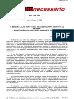 Texto - o Governo Lula e Sua Política (Neoliberal) Para o Esporte Nacional