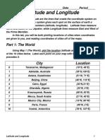 Latitude and Longitude Worksheet World
