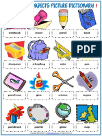 classroom objects vocabulary esl picture dictionary worksheet for