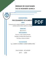 Informe - Alimentos - Ingeniería Química