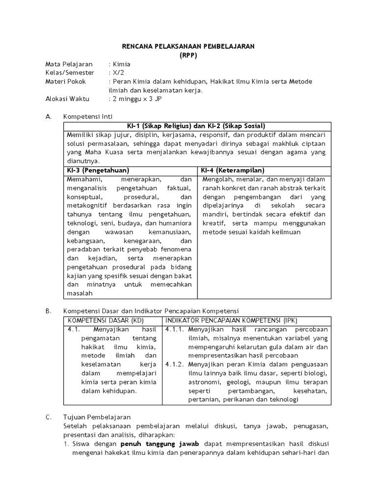 Rpp Kurikulum 2013 Hakikat Ilmu Kimia