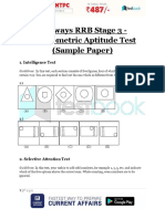 Railways RRB Stage 3 Psychometric Aptitude Test Sample Paper