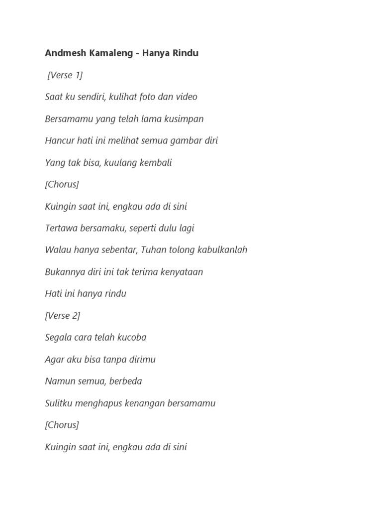 Lirik Lagu Andmesh Kamaleng