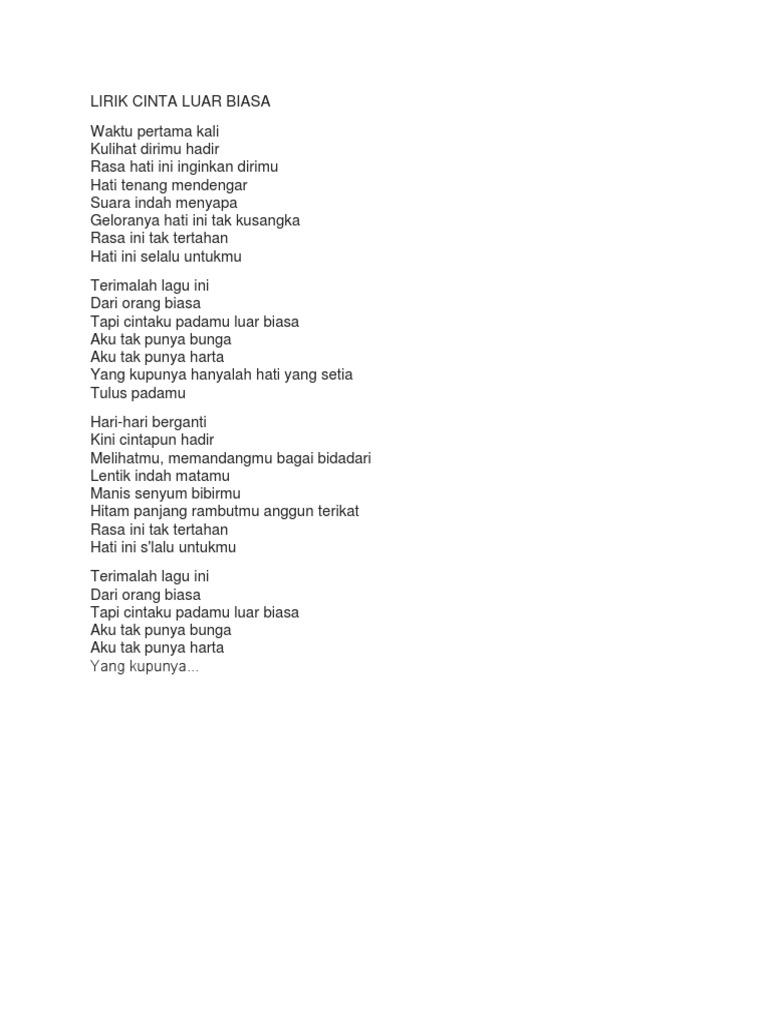 Lirik Lagu Cinta Luar Biasa English Arsia Lirik
