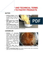 Culinary and Technical Terms Related to Pastry Products
