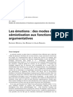 Les Émotions _ Des Modes de Sémiotisation Aux Fonctions Argumentatives