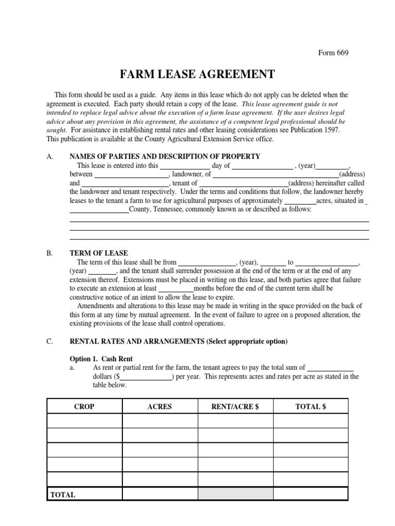 Farmlease Agreement Lease Renting