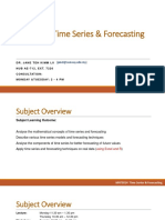 Time Series and Forecasting - Subject Overview