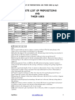 Complete List of Prepositions