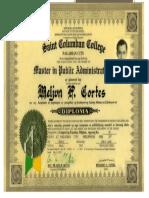 MELJUN CORTES Diploma Masteral MPA 2000