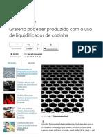 Grafeno Pode Ser Produzido Com o Uso de Liquidificador de Cozinha - Tecmundo