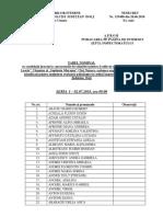 Tabel Planificare Testare Psihologică Candidati Scolile de Agenti Vasile Lascar Si Septimiu Muresan 02-06.07.2018