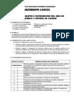 Equipos e Instrumentos Del Area de Bioquimica y Control de Calidad
